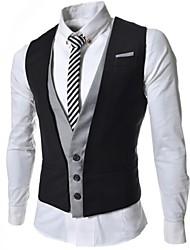 Men's Sleeveless Regular Blazer , Cotton Blend Pure
