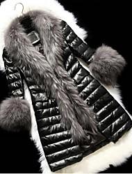 moda de luxo grandes colares de imitação de peles casaco longo das mulheres