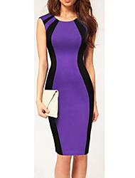 VERYM Women's Temperament Contrast COLor Dresses