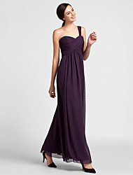 Floor-length Chiffon Bridesmaid Dress Sheath / Column One Shoulder Plus Size / Petite with Draping / Criss Cross