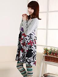 мода печати водолазка с длинным рукавом платье материнства в