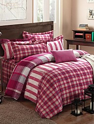 H&C ®  Thicken Cotton Sanded Fabric Duvet Cover Set  4 Pieces Checker Pattern Red Multi-Color