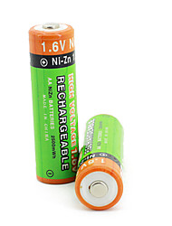 2Pcs PKCELL Colorful 1.6V 2500mAh AA Ni-ZN Rechargeable Batteries Set