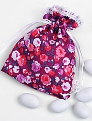 10 PCS Wedding Purple Candy Favor Bags Silk Satin Drawstring Pouch for Party