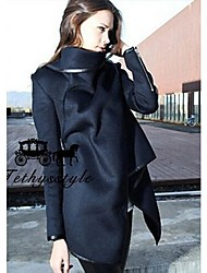 Women's High Neck Asym Hem Wool Coat