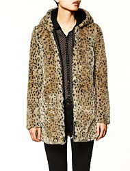 de manga larga con capucha abrigo de imitación de piel de leopardo