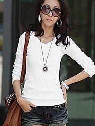Frauen Langarm ausgestattet massive Decke einfachen T-Shirt