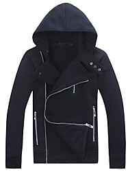 Men personalized multi-zipper fleece hooded sweater