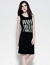 abito t-shirt midi nero della stampa del fiore delle donne a01016