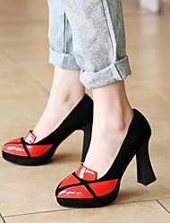 Women's Shoes Round Toe Spool Heel Leather Pumps Shoes More Colors Available