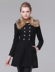 Women's Coat,Solid Long Sleeve Fall / Winter Blue / Red / Black / Yellow Wool Thick
