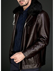 Men PU Outerwear , Lined