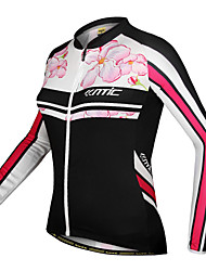 SANTIC-Women's Cycling Jersey/Jacket Long Sleeve 100% Polyester Floral Pattern