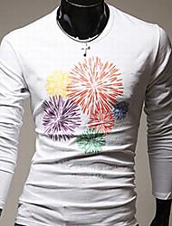 moda ydy print floral t-shirt de manga comprida