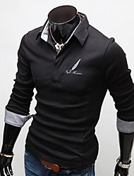 Men's Korean Style Slim Long Sleeves Polo Shirt