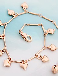 Heart-Shaped Pendents Alloy Hand Made Anklet Rose Gold (1Pc)