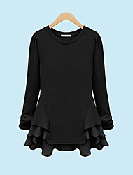 Women's Round Cotton Layered Hem Blouse