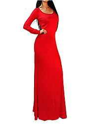 Women's Sexy Round Neck Backless Bodycon Maxi Dress