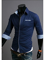 Men 's Leisure Grid Color  Cuff Grid Long Sleeve Shirt
