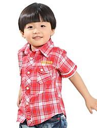 Boy's Shirt Collar Check  Pattern Short Sleeve Shirts