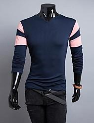 Men Cut Collar Hit Color Stitching Sleeve T-shirt