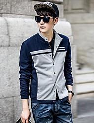 Men's Long Sleeve Jacket Casual/Sport Striped/Pure