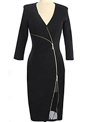Women's Solid Black Dress , Sexy/Bodycon Deep V ¾ Sleeve