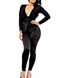 Women's Black Jumpsuits , Sexy/Bodycon Long Sleeve