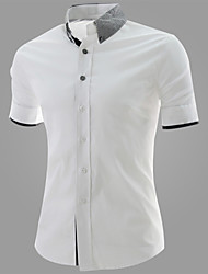 Reverie Men's Lapel Neck Bodycon Leisure Short Sleeve Shirt