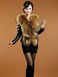 Women's Large Faux Fox Fur Collar Coat Slim Fur Leather Jacket Plus Size Fur Coat