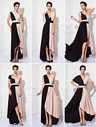 TS Couture® Prom / Formal Evening / Military Ball Dress - Color Block Plus Size / Petite Sheath / Column Tea-length Knit with
