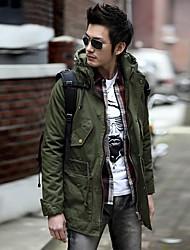 Men's Long Parka Coat Pure Long Sleeve