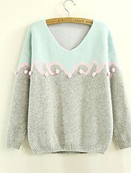 Women's Color Matching And Lovely Hair Bulb Ball Sleeve Head Loose Sweaters