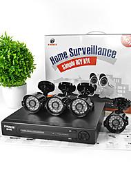 kavass® 4ch cctv dvr kit p2p, h. 264 + 4 outdoor 800tvl hd waterdichte kleurencamera's