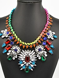 Women's Fashion Multi Color Weave Gem Necklace