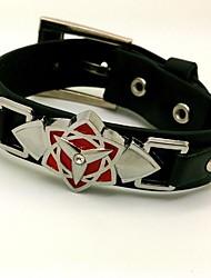 Naruto Sasuke Uchiha Punk Style Black PU Cosplay Bracelet
