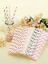 Heart Pattern Paper Straws(Set of 25)