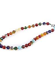 moda contas de vidro colorido artesanal colar de várias cores (1pc)