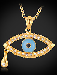 U7®New Women's Angel Tear Drop Evil Eyes Pendant Choker Chain Necklace 18K Real Gold Plated Gift for Women
