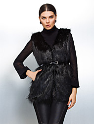 Fur Vest With Delicate Sleeveless Collarless In Faux Fur Casual/Party Vest (More Colors)