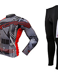 MOON Autumn Winter Thermal Fleece Breathable Long Sleeved Cycling Suit - Black + Red
