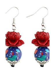 Vintage Women's Red Coral Lotus-Shaped Beads Gemstone Earrings Blue Round (1Pair)