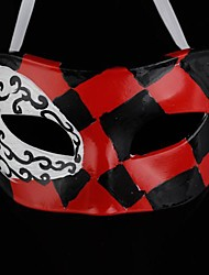 Back-to-ancient Jazz Black and Red Diamond Lattice PS Half Face Halloween Party Mask