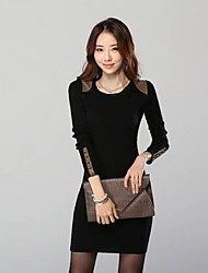 Women's Solid Red/Black Dress , Bodycon/Casual Round Neck Long Sleeve
