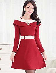 Women's Dress,Color Block Mini Long Sleeve Pink / Red / Black Spring / Fall