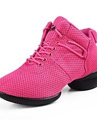 Women's Dance Shoes Dance Sneakers Synthetic Low Heel Black/Pink/Red