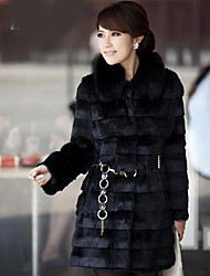 Women's Elegant Faux Fur Pure Color Long Sleeve Coat