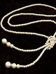 BeiShiQi Women's Fashion Temperament Elegance Pearl Simple Long Necklaces