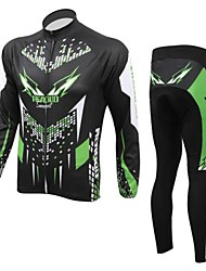 Realtoo Cycling Jacket with Pants Men's Long Sleeve Bike Breathable Thermal / Warm Fleece LiningJersey + Pants/Jersey+Tights Clothing