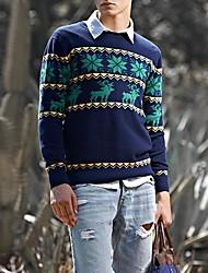 Männer der koreanischen Art der runden Kragen Streifen Langarm Strickpullover
